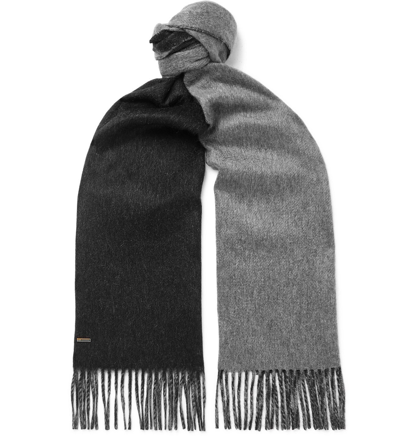 Dunhill - Reversible Fringed Cashmere Scarf - Gray