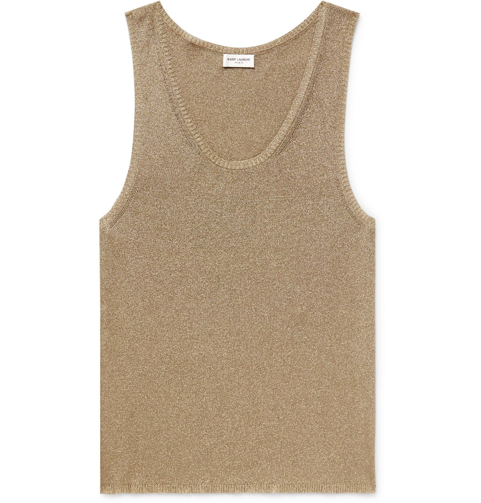 Photo: SAINT LAURENT - Slim-Fit Lurex-Blend Tank Top - Gold