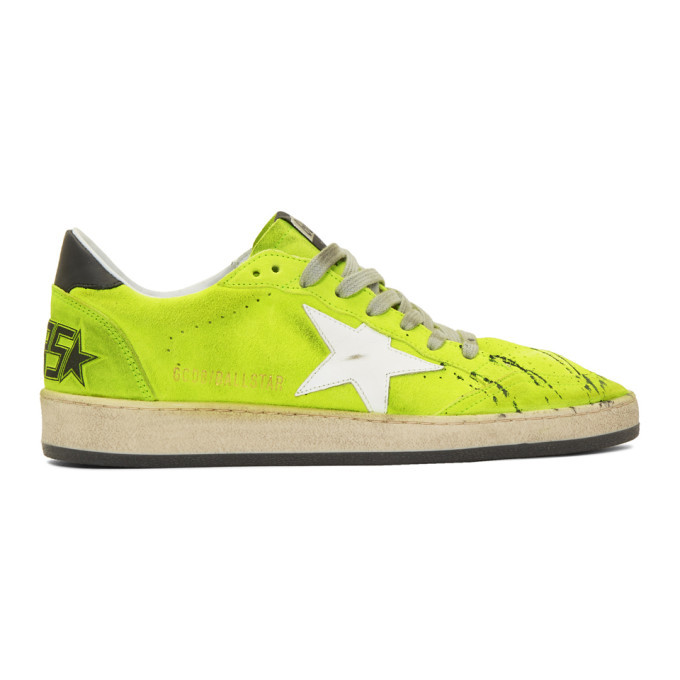 Photo: Golden Goose Yellow Suede Paint Ball Star Sneakers