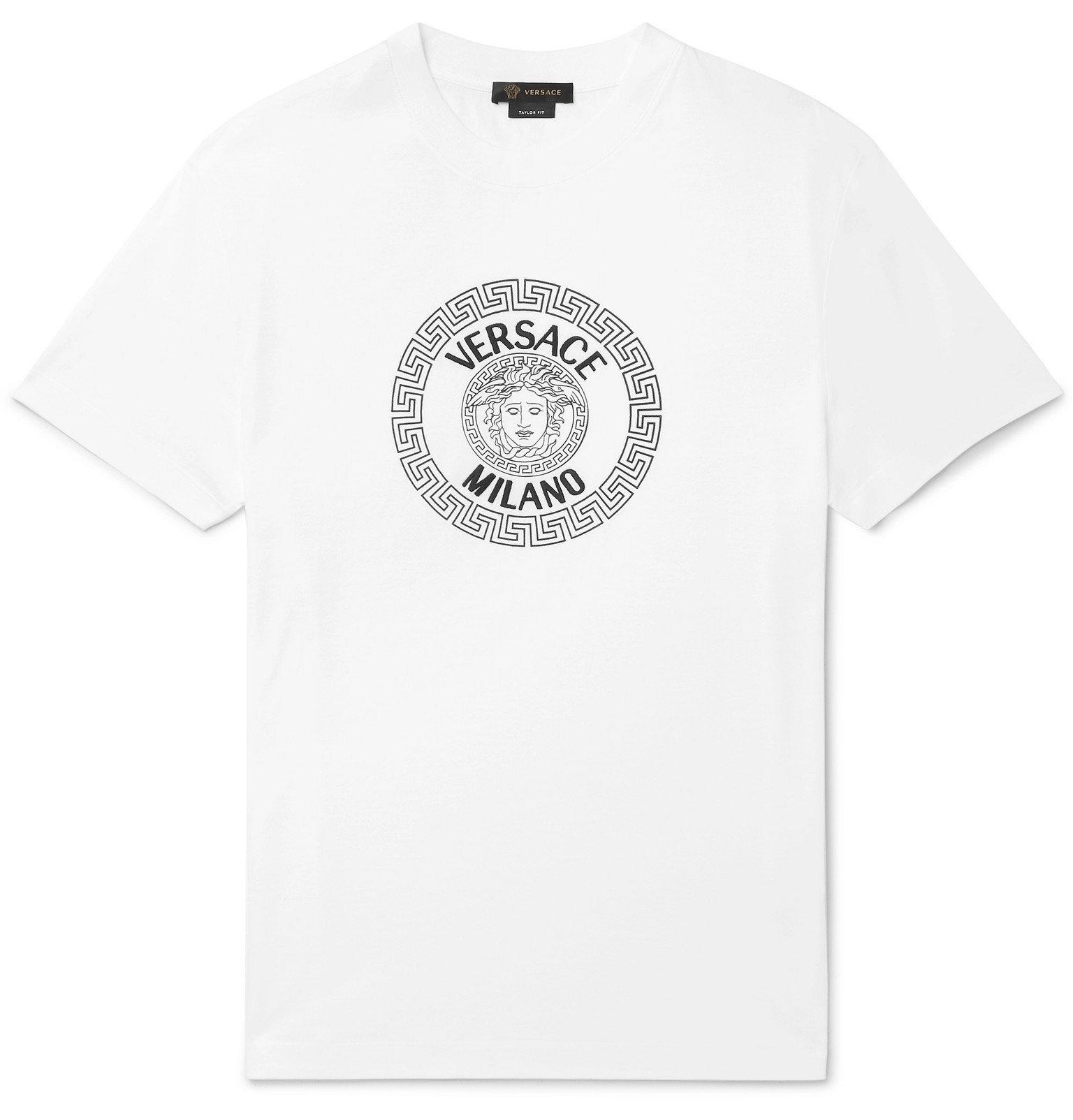 Versace - Slim-Fit Logo-Flocked Cotton-Jersey T-Shirt - White