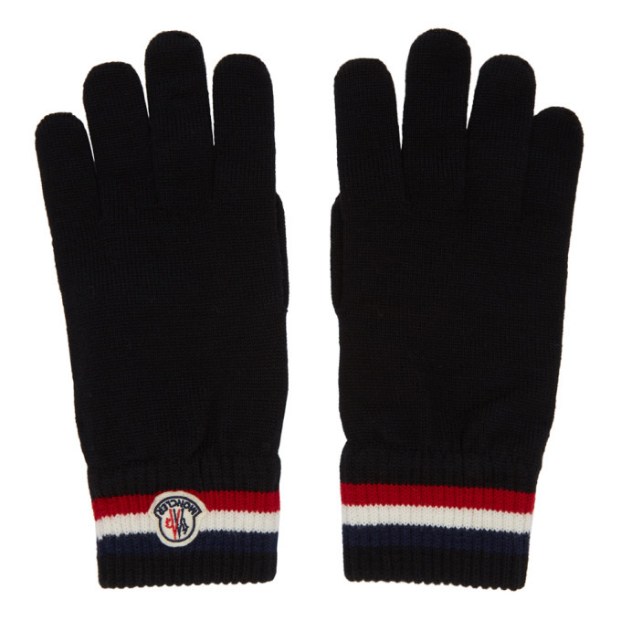 Photo: Moncler Black Wool Stripe Gloves