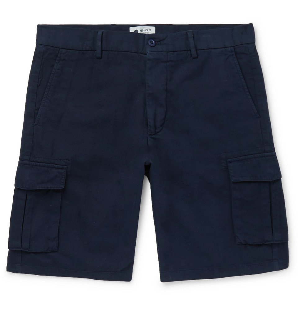 Photo: NN07 - Cotton, Lyocell and Linen-Blend Cargo Shorts - Navy