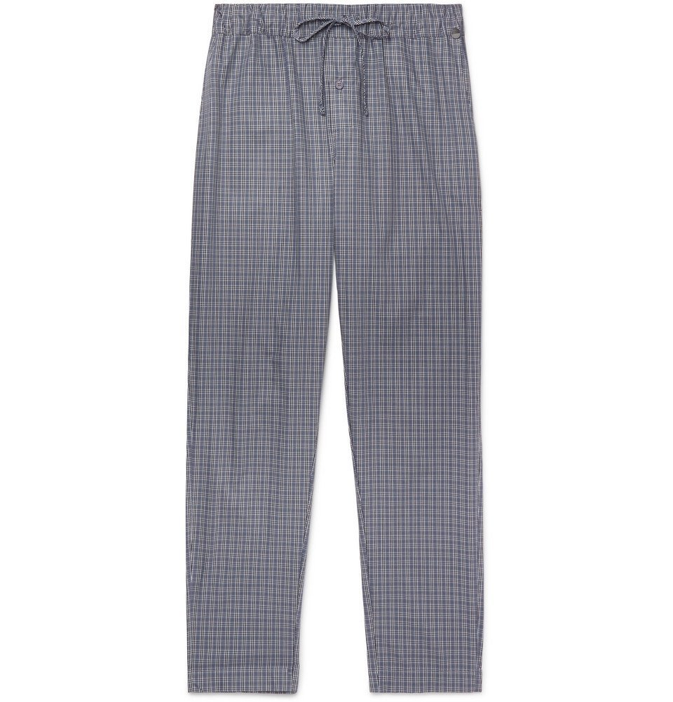 Photo: Hanro - Checked Cotton Pyjama Trousers - Blue