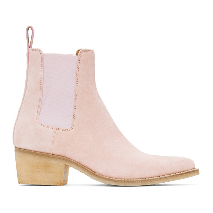 Photo: Amiri Pink Suede Pointy Toe Chelsea Boots