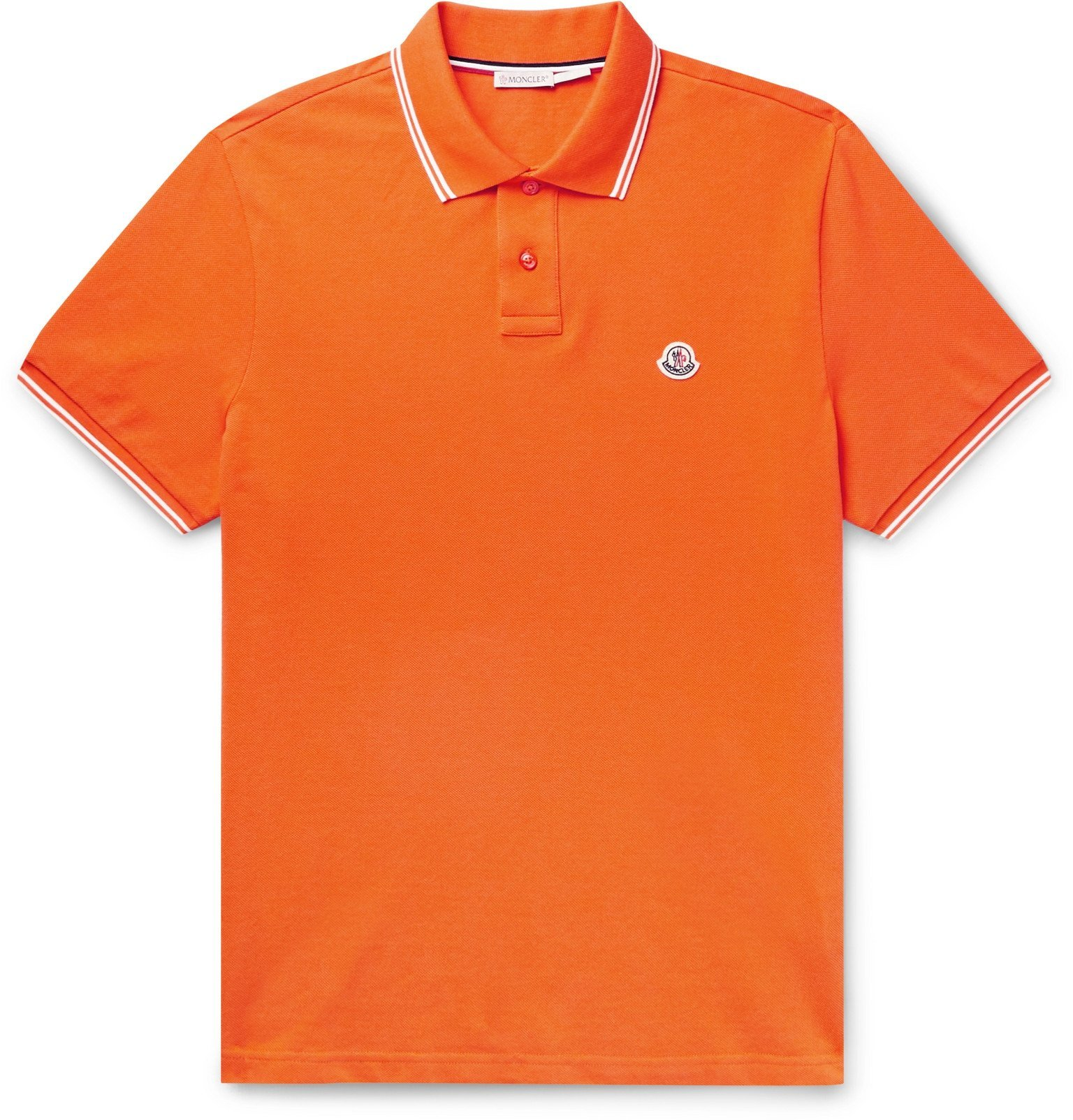 Photo: Moncler - Contrast-Tipped Cotton-Piqué Polo Shirt - Orange