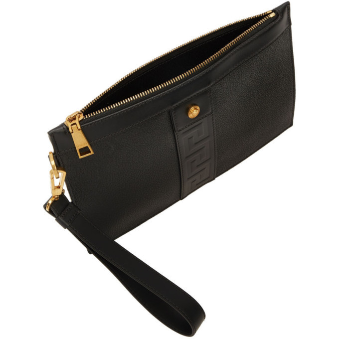 Versace Black and Gold Small Tribute Cordura Zip Pouch