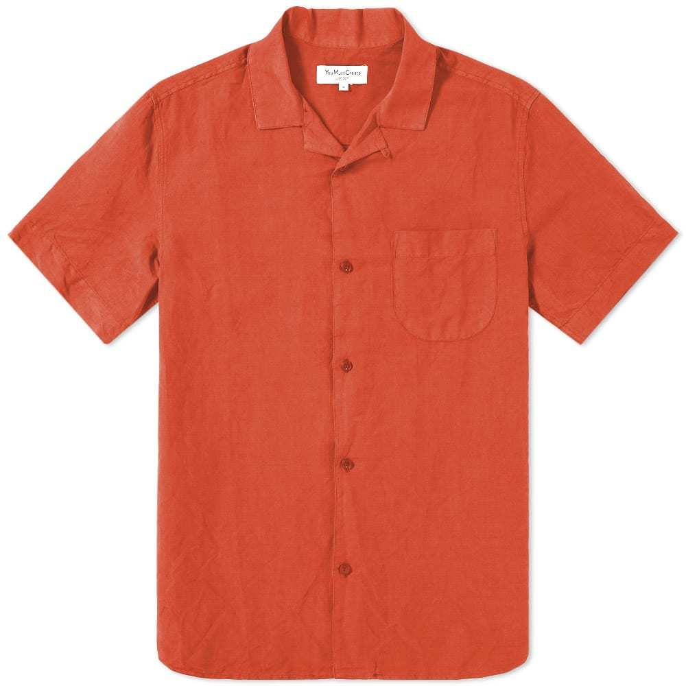 Photo: YMC Short Sleeve Malick Garment Dyed Cotton Shirt Orange
