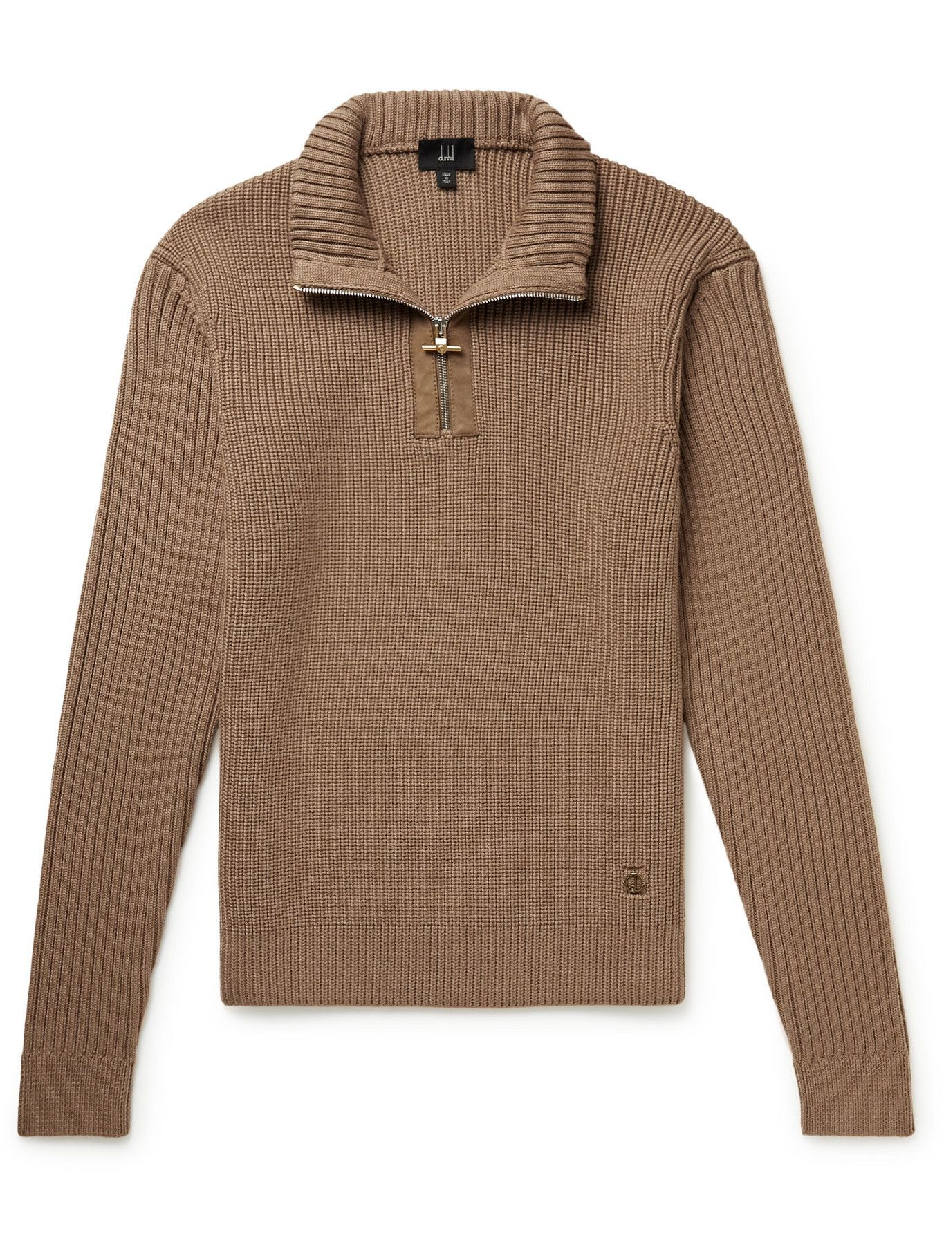 Photo: Dunhill - Slim-Fit Ribbed Merino Wool Half-Zip Sweater - Brown