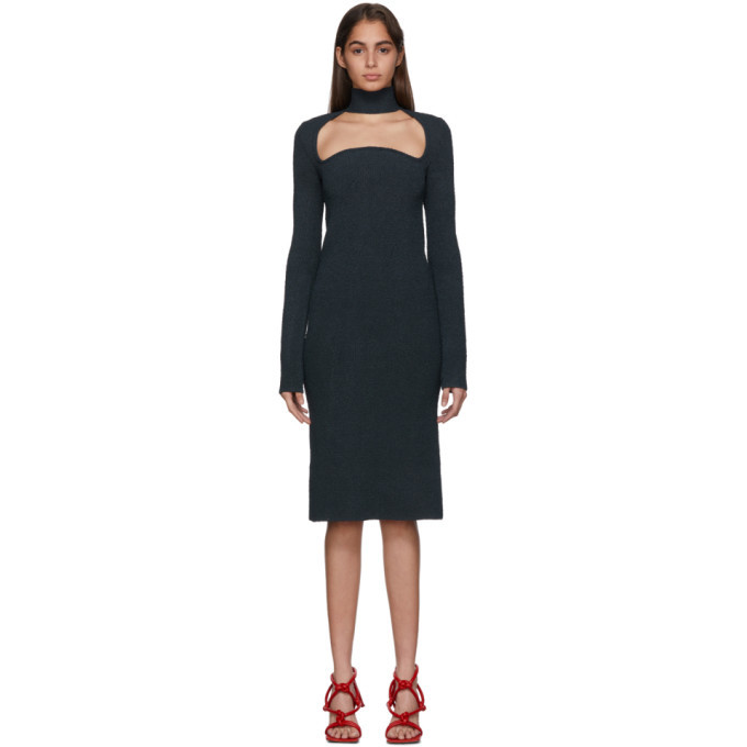 Photo: Bottega Veneta Navy Knit Silk Dress