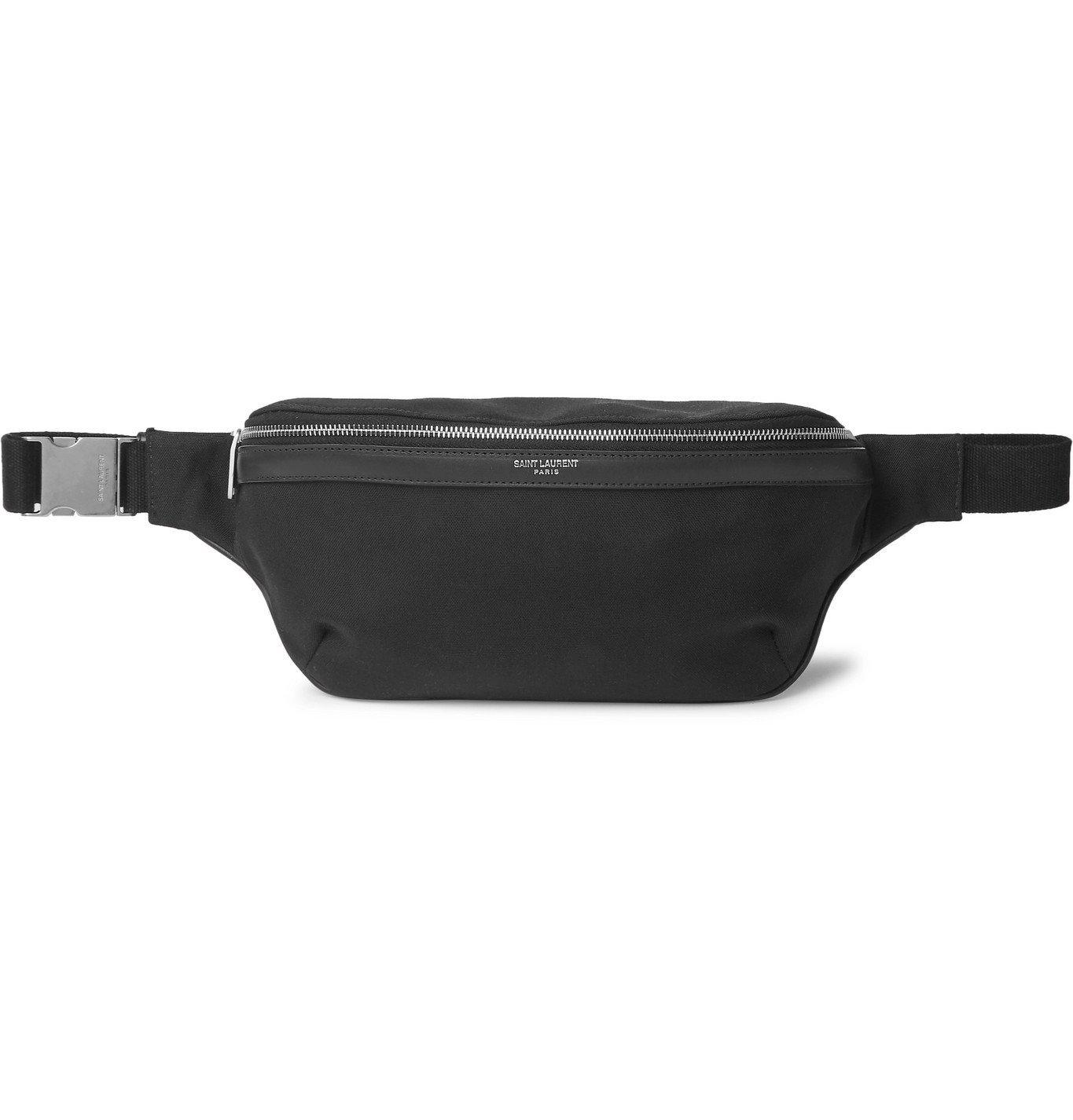 Photo: SAINT LAURENT - Leather-Trimmed Canvas Belt Bag - Black