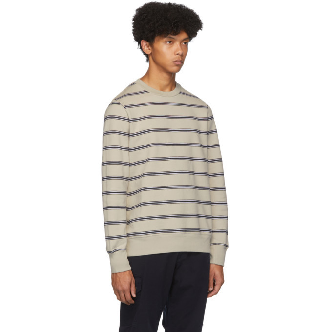 PS by Paul Smith Beige and Navy Stripe Sweatshirt