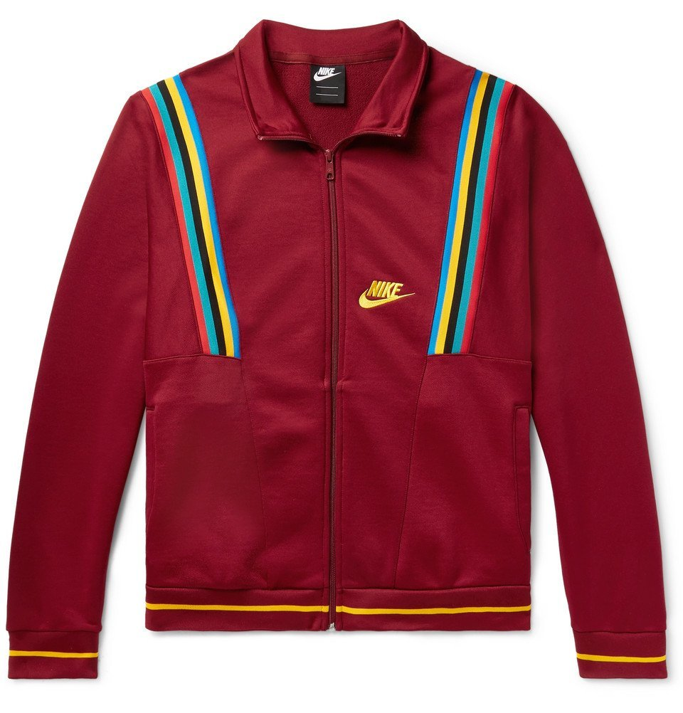 Photo: Nike - Sportswear Loopback Cotton-Blend Tech-Jersey Track Jacket - Burgundy