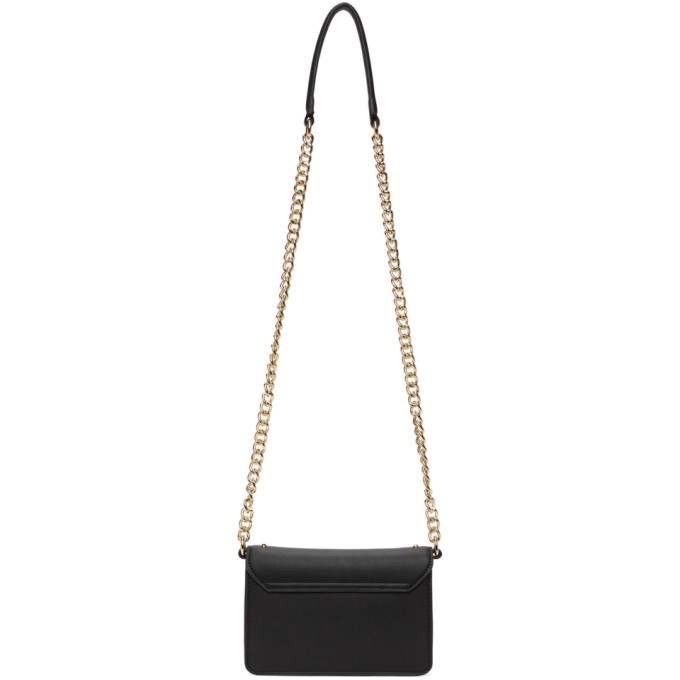 Versace Jeans Couture Black Faux-Leather Studded Flap Bag