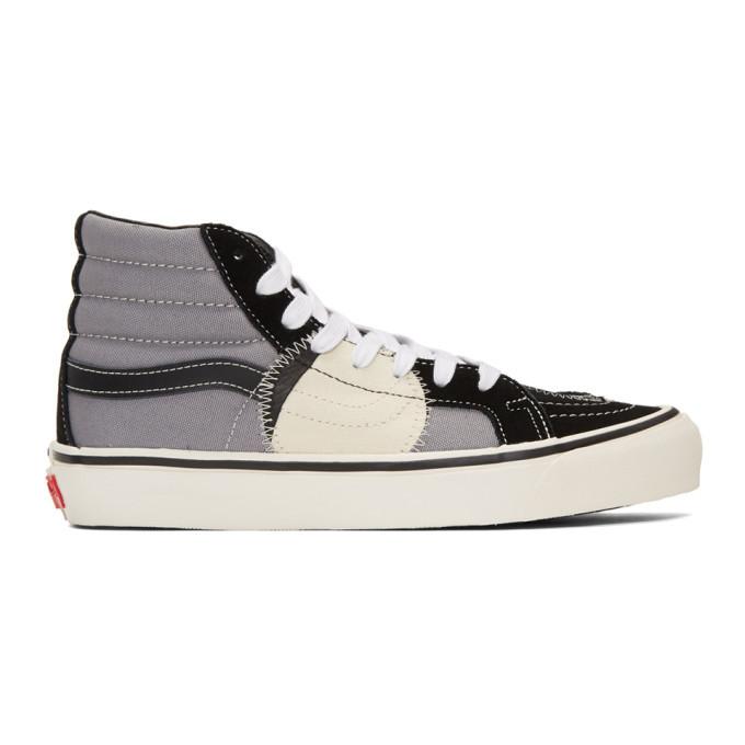 Photo: Vans Black and Grey Sk8-Hi Bricolage Sneakers