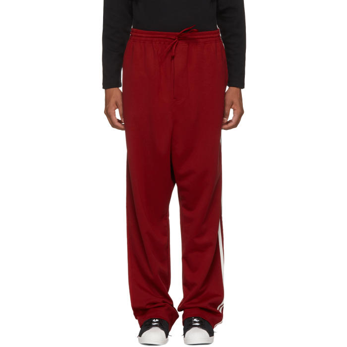 Y-3 Red Logo 3-Stripes Wide Lounge Pants