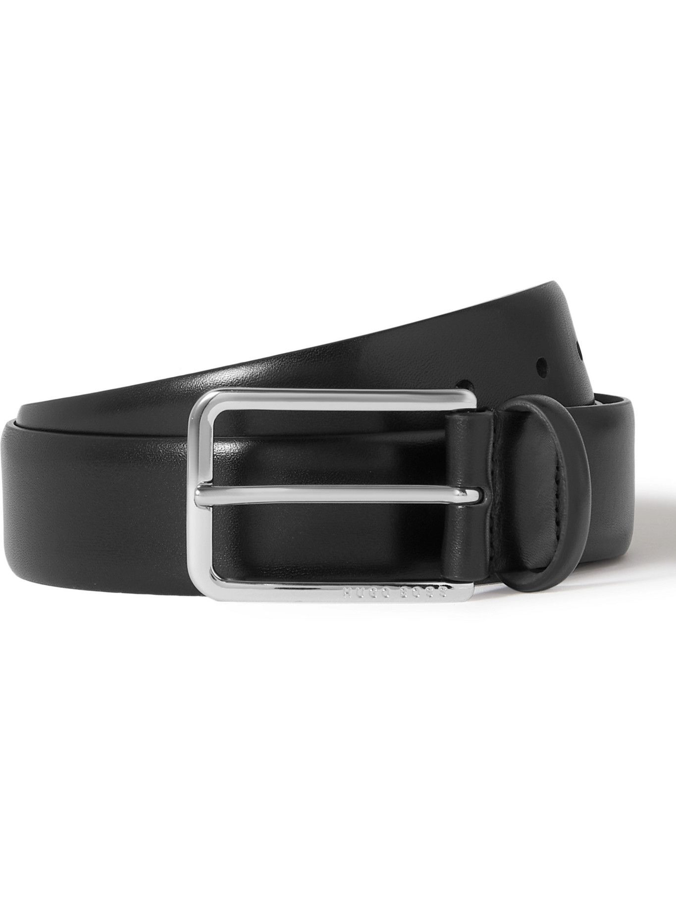 HUGO BOSS - 3cm Leather Belt - Black