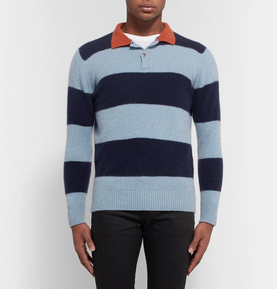 The Elder Statesman - Slim-Fit Striped Cashmere Sweater - Blue