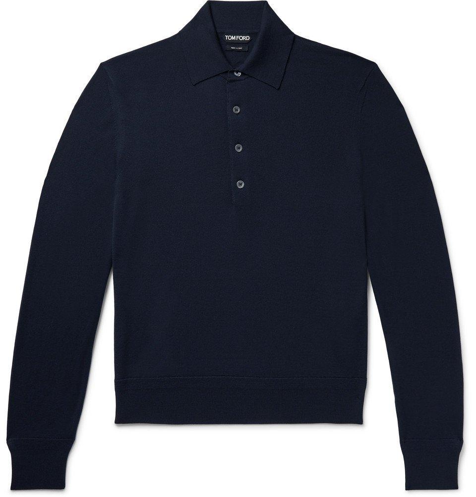 Photo: TOM FORD - Slim-Fit Wool Polo Shirt - Navy
