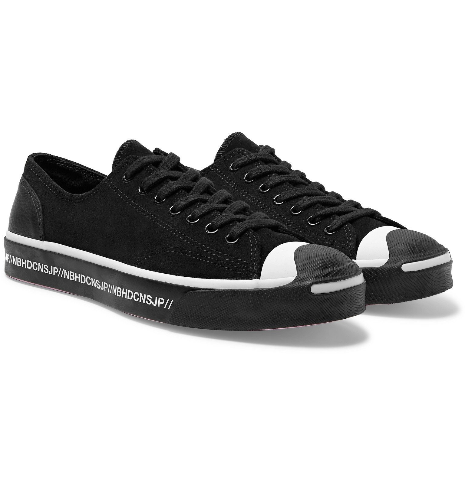 Photo: Converse - Neighborhood Jack Purcell OX Leather-Trimmed Suede Sneakers - Black
