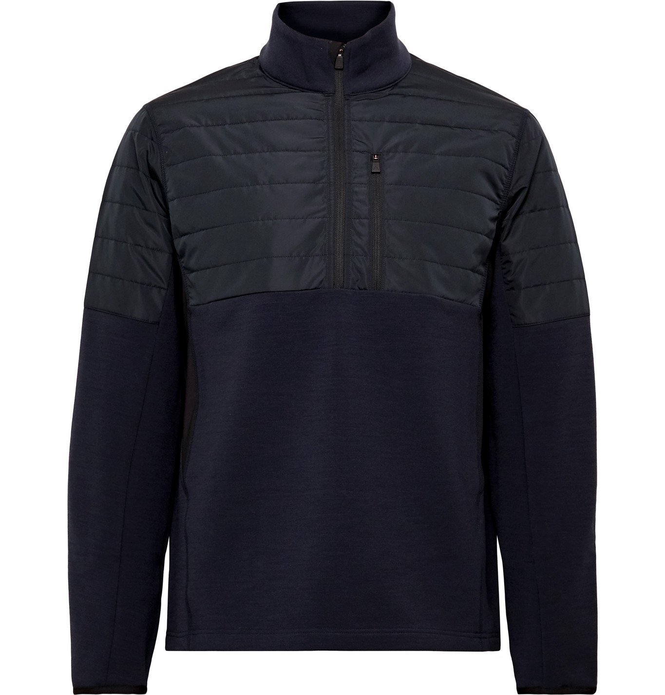 Photo: Aztech Mountain - Team Aztech Quilted Panelled Stretch-Tech Fleece Half-Zip Sweatshirt - Blue