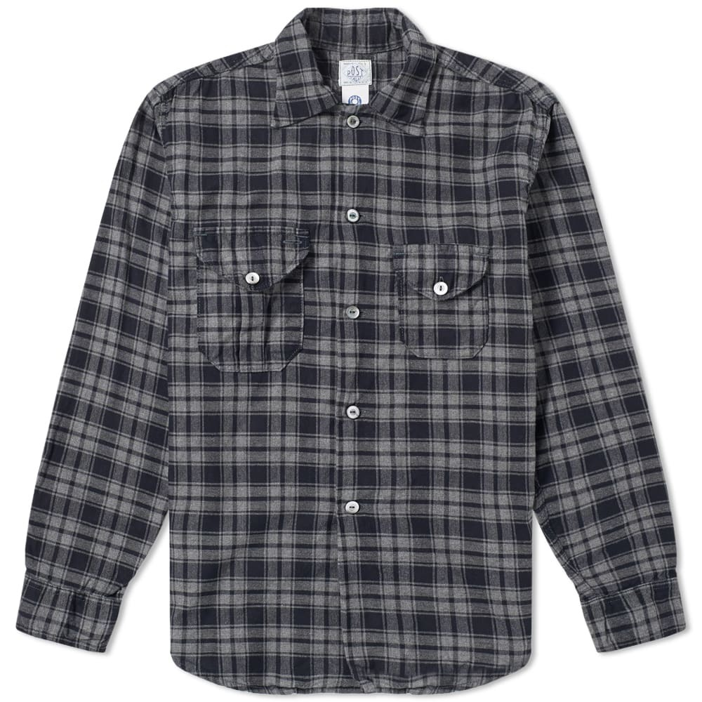 Photo: Post Overalls E-Z Cruz Plaid Shirt Navy & Grey