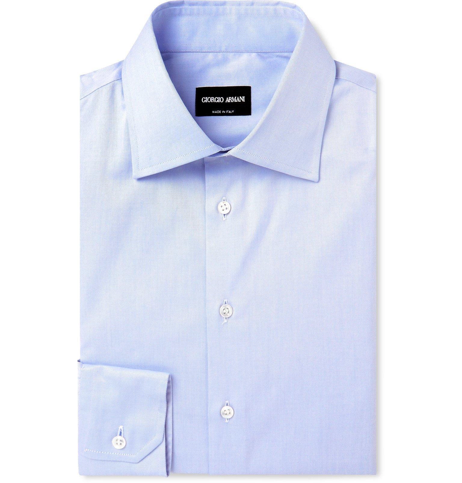 Giorgio Armani - Light-Blue Cotton Shirt - Blue