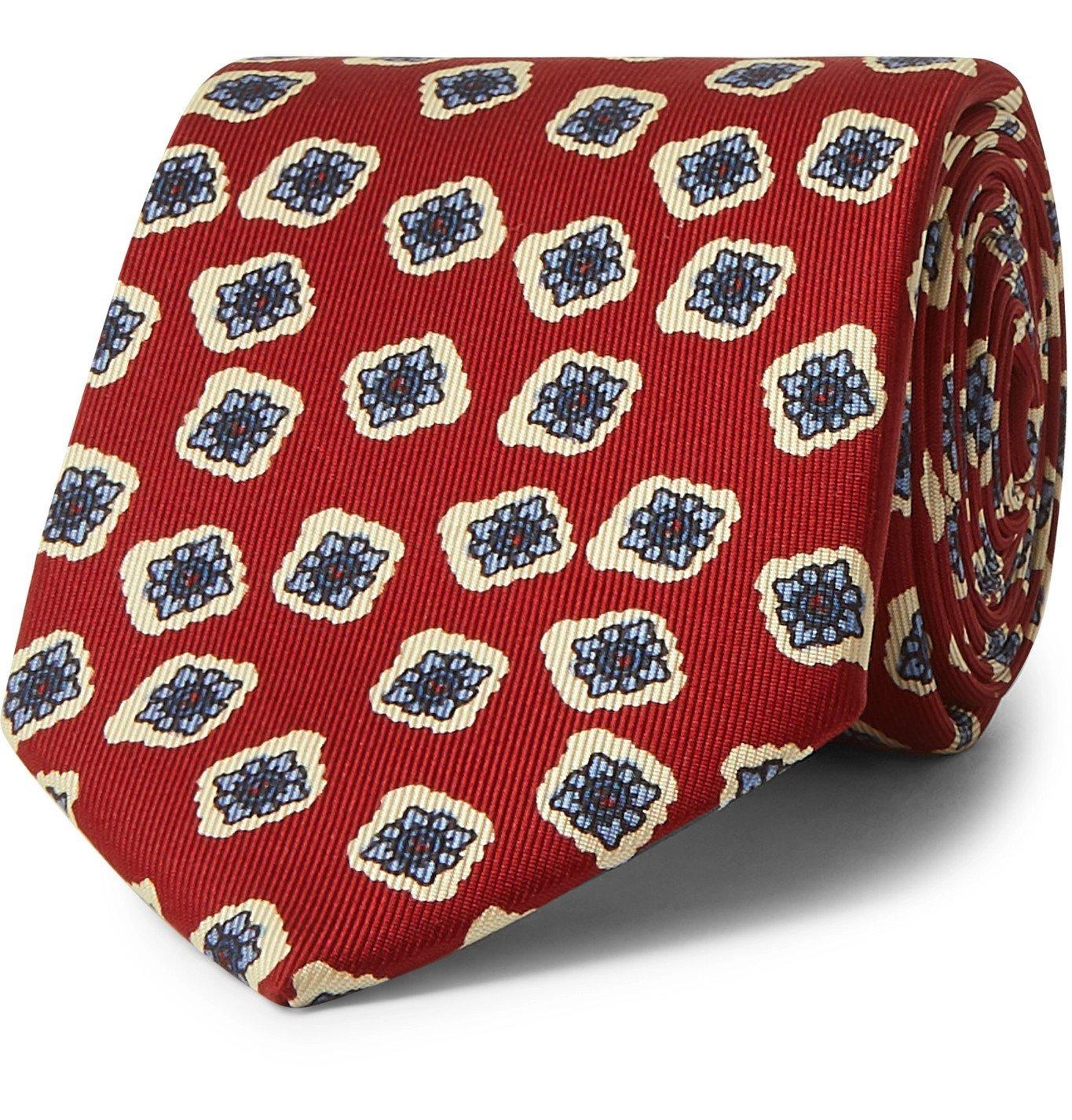 Photo: E.MARINELLA - 8cm Floral-Print Silk-Twill Tie - Red