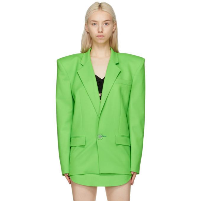 Photo: The Attico Green Exaggerated Shoulder Blazer