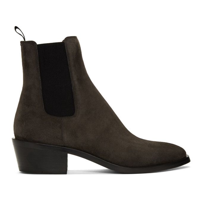 Photo: Givenchy Grey Suede Chelsea Boots