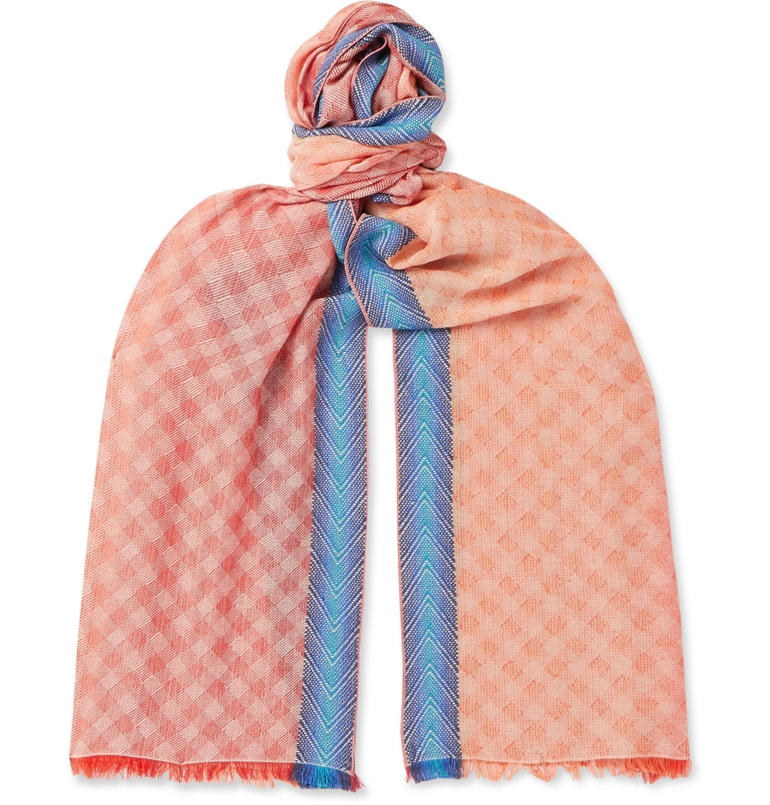 Photo: Missoni - Fringed Checked Cotton-Blend Scarf - Pink