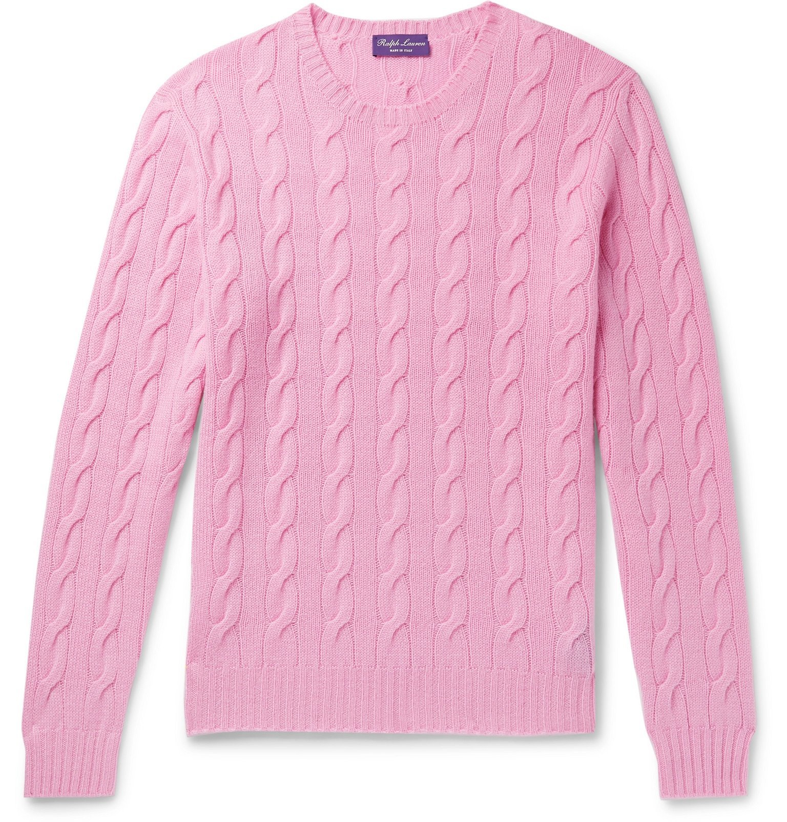 Photo: Ralph Lauren Purple Label - Cable-Knit Cashmere Sweater - Pink