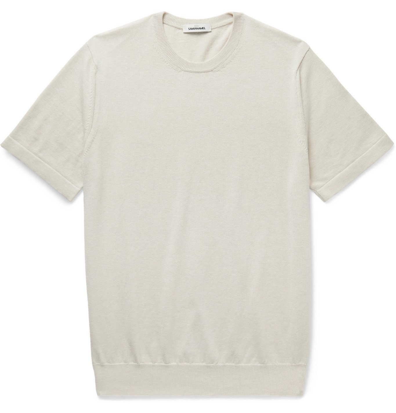Photo: Saman Amel - Mélange Cotton T-Shirt - Neutrals