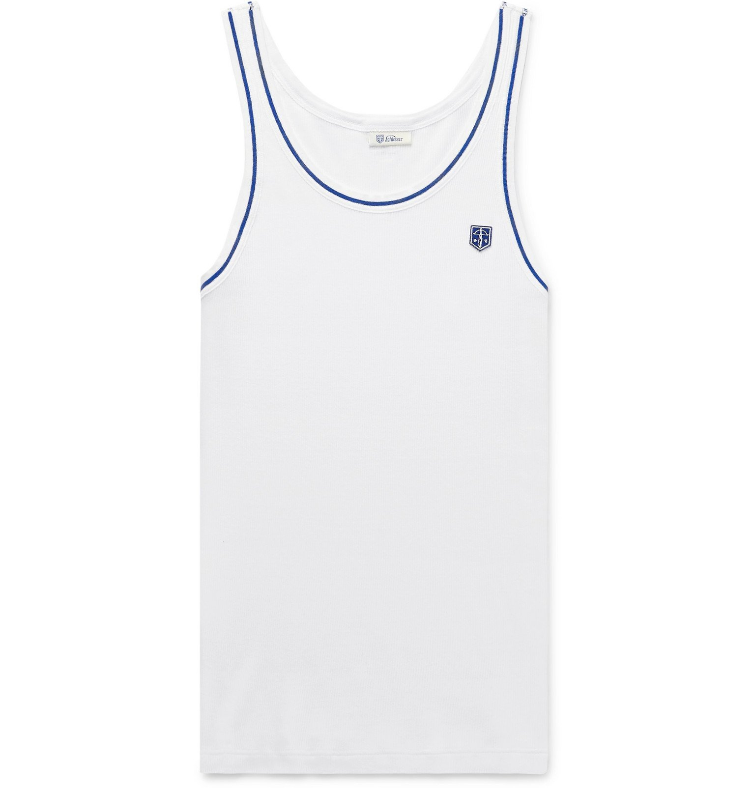 Photo: Schiesser - Friedrich Ribbed Cotton Tank Top - White