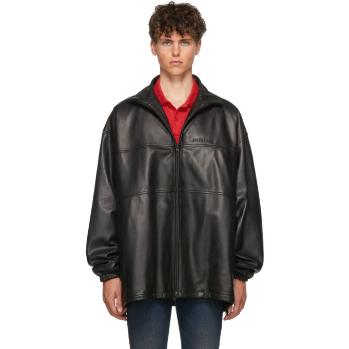 Photo: Balenciaga Black Leather Zip-Up Track Jacket