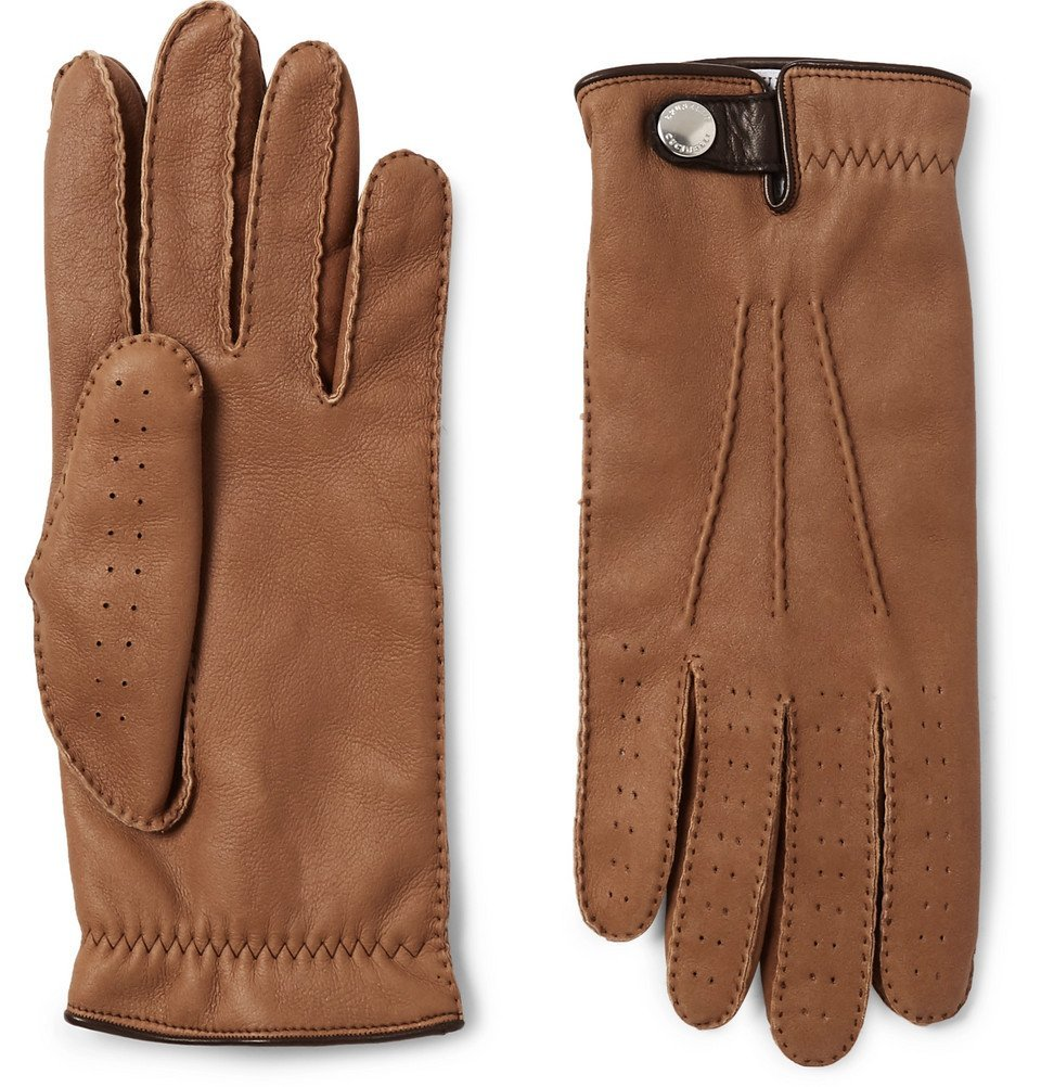 Photo: Brunello Cucinelli - Shearling-Lined Leather Gloves - Brown