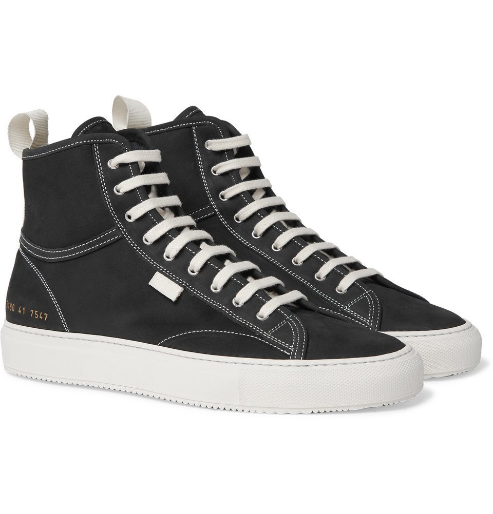 Photo: Common Projects - Tournament Nubuck High-Top Sneakers - Black