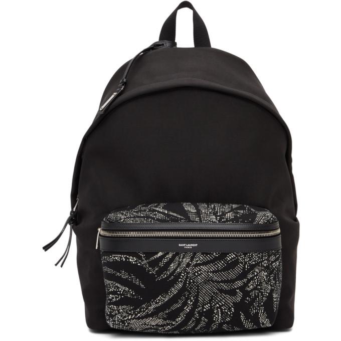 Photo: Saint Laurent Black Palm Print City Backpack