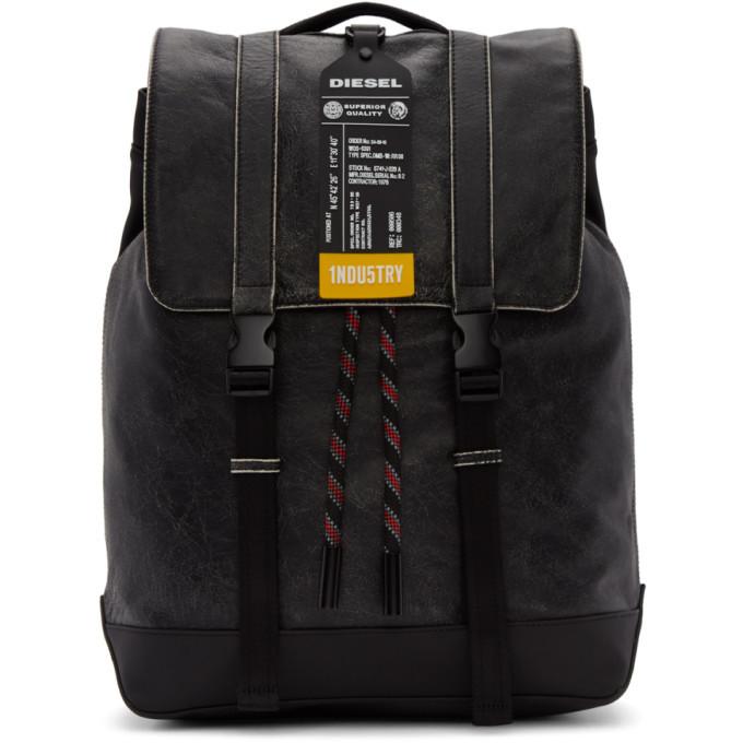 Photo: Diesel Black Leather Volpago Backpack