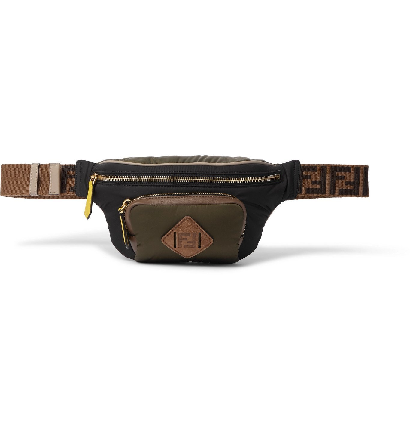 Photo: Fendi - Leather and Suede-Trimmed Shell Belt Bag - Green