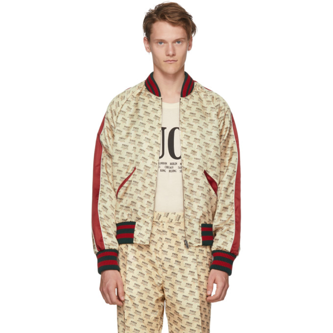 Photo: Gucci Off-White All Over Logo Bomber Jacket