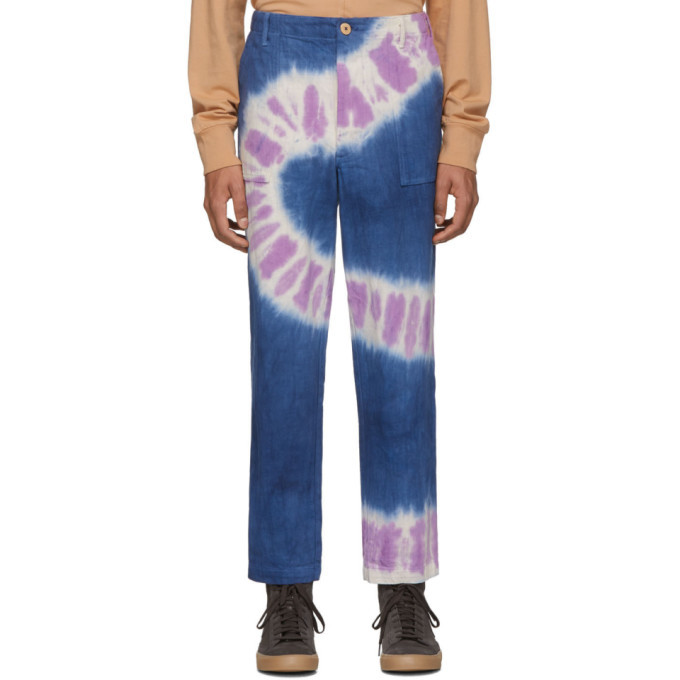 Photo: The Elder Statesman Navy and Purple Tie-Dye Jeans
