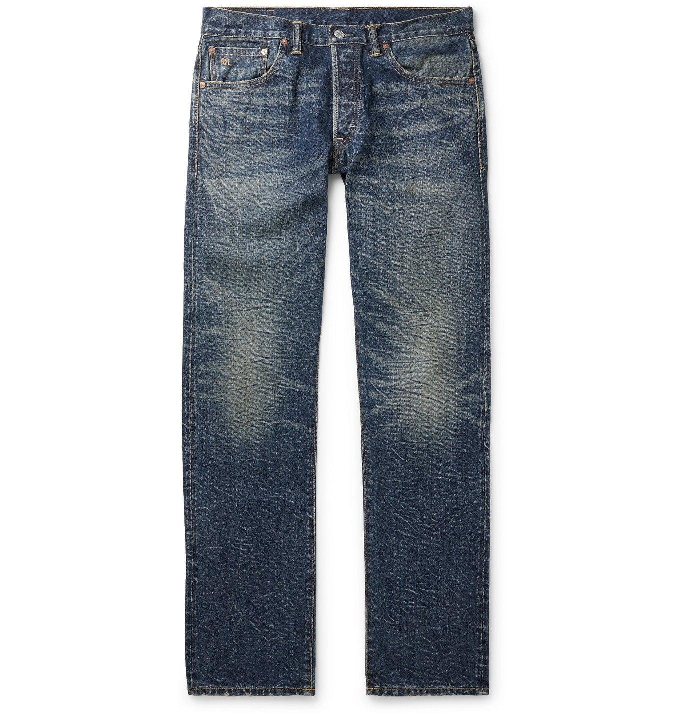 Photo: RRL - Slim-Fit Distressed Slevedge Denim Jeans - Blue