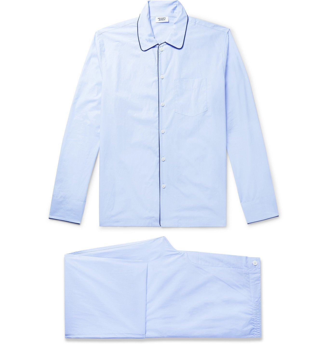 Photo: Sleepy Jones - Henry Piped Cotton-Poplin Pyjama Set - Blue