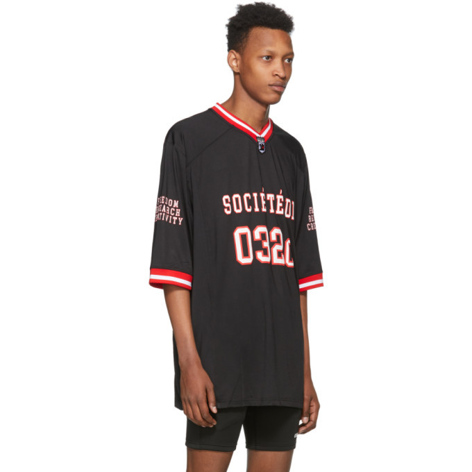 032c Black Puff Print Football Jersey T-Shirt