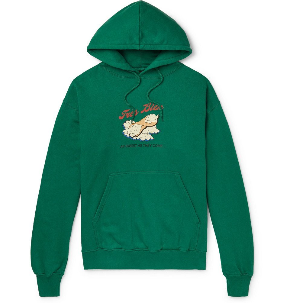 Photo: Très Bien - Souvenir Printed Fleece-Back Cotton-Jersey Hoodie - Green