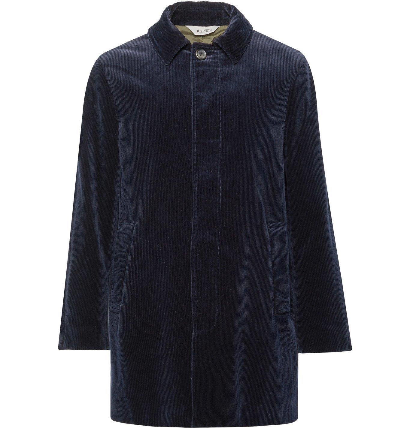 Photo: Aspesi - Cotton-Corduroy Overcoat - Blue