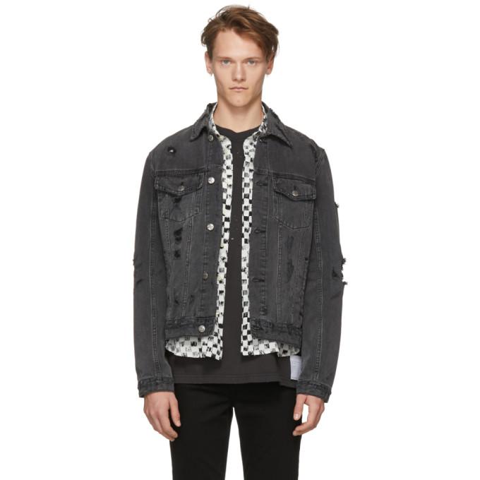 Ksubi Black Denim Super Smashed Classic Jacket