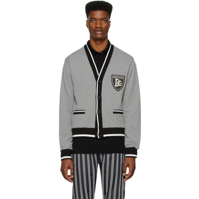 Dolce and Gabbana Black and White Houndstooth Cardigan