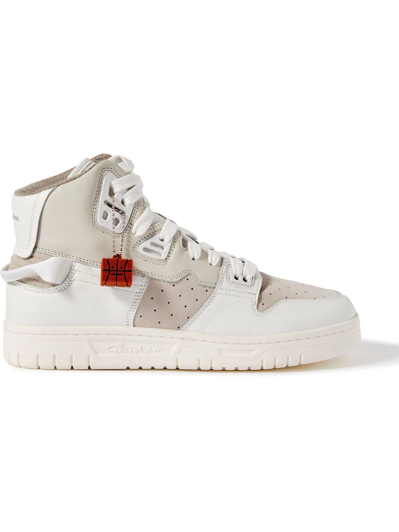 Photo: ACNE STUDIOS - Buxeda Suede-Trimmed Leather High-Top Sneakers - White