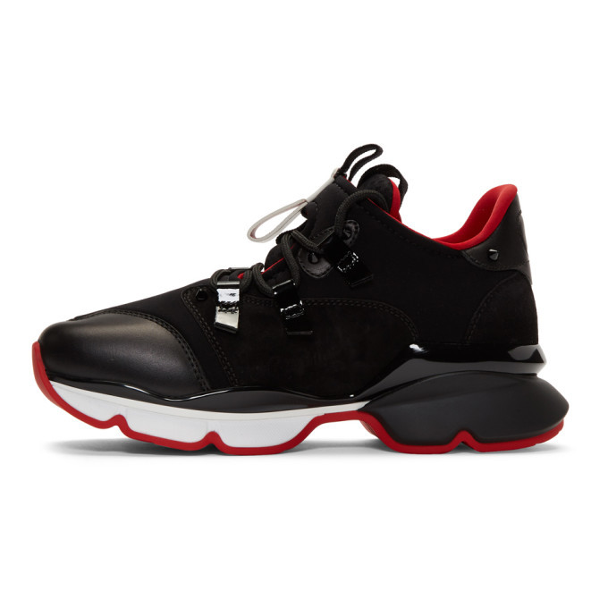 Christian Louboutin Black Red-Runner Flat Sneakers